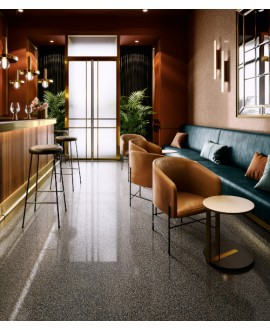 Carrelage effet terrazzo et granito, bar, 90x90cm rectifié, santanewdeco dark brillant