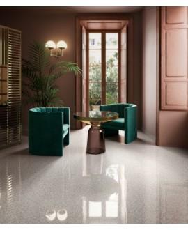 Carrelage effet terrazzo et granito, salon, 90x90cm rectifié, santanewdeco pearl poli brillant