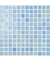 Emaux de verre bleu clair irisé metallisé piscine mosaique salle de bain iridis 23  2.5x2.5 cm