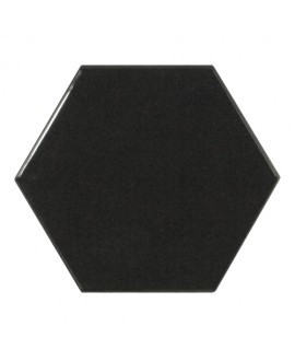 Faience hexagone Equipscale noir brillant 12.4x10.7cm