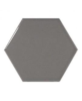 Faience hexagone Equipscale gris foncé brillant 12.4x10.7cm