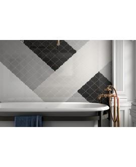 Faience arabesque equipalhambra noir,gris foncé, gris clair, blanc