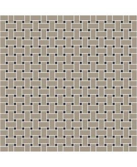 Mosaique W filet de pêche gris pâle et noir en plaque de 31.4x31.4cm