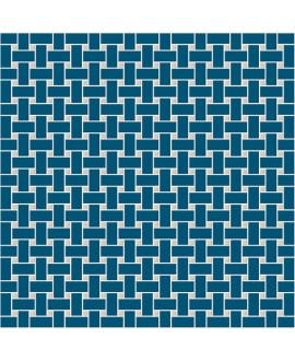 Mosaique W filet de pêche bleu nuit et ontario en plaque de 31.4x31.4cm
