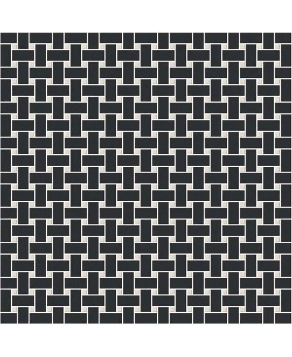 Mosaique en grès cérame fin vitrifié W filet de pêche noir et blanc en plaque de 31.4x31.4cm