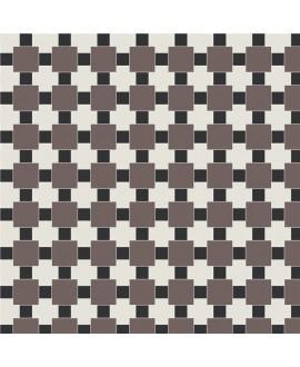 Mosaique en grès cérame fin vitrifié W textile blanc, noir, et anthracite en plaque de 32.7x32.7cm