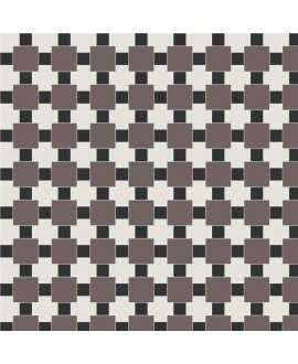 Mosaique W textile blanc, noir, et anthracite en plaque de 32.7x32.7cm