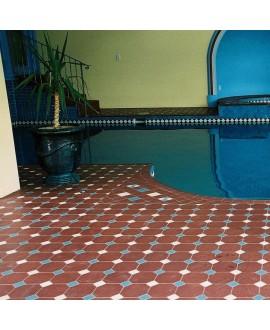 Carrelage octogone W rouge 15x15cm avec cabochon vanille et bleu de 5x5cm