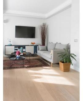 Parquet blanchi contrecollé en chêne verni , moderne largeur 190 mm layork natural white