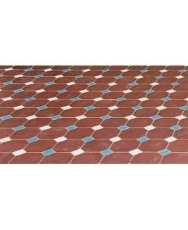 Carrelage octogonal en grès cérame fin vitrifié W rouge 10x10cm avec cabochon vanille et bleu de 3.5x3.5cm