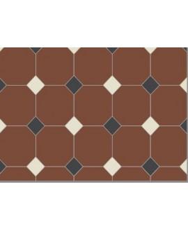 Carrelage octogonal W rouge 10x10cm avec cabochon bleu et vanille de 3.5x3.5cm