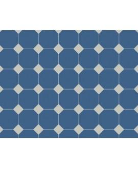 Carrelage octogonal en grès cérame fin vitrifié W bleu nuit 10x10cm avec cabochon gris perle de 3.5x3.5cm
