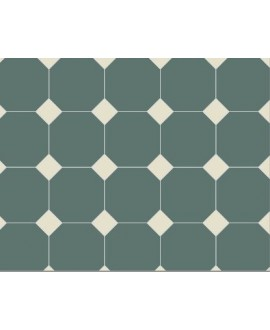 Carrelage octogonal W vert foncé 10x10cm avec cabochon blanc de 3.5x3.5cm