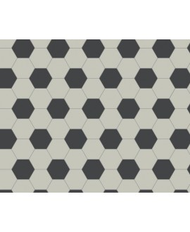 Mosaique en grès cérame fin vitrifié W hexagonal damier blanc et noir grès cérame vitrifié 5x5cm en plaque de 29.5x28.1cm