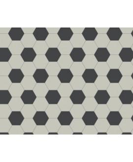 Mosaique W hexagonal damier blanc et noir 5x5cm en plaque de 29.5x28.1cm