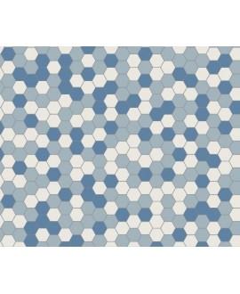 Mosaique W hexagonal bleu foncé, bleu pâle et super blanc 5x5cm en plaque de 29.5x28.1cm