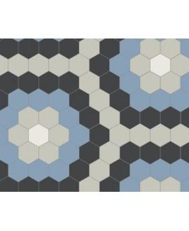 Mosaique W hexagonal décor fleur bleu 5x5cm en plaque de 29.5x28.1cm
