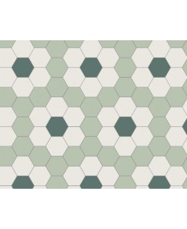 Mosaique en grès cérame fin vitrifié W hexagonal décor fleur verte grès cérame vitrifié 5x5cm en plaque de 29.5x28.1cm