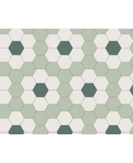 Mosaique W hexagonal décor fleur verte 5x5cm en plaque de 29.5x28.1cm