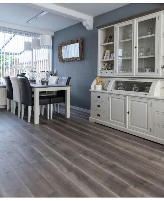 Parquet sol cuisine contrecollé en chêne huilé gris fumé, plancher en bois largeur 190 mm latry smoked grey