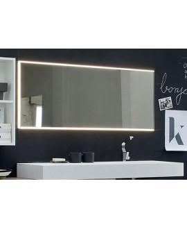 Miroir salle de bain, lumineux, contemporain, rectangulaire, horizontal 150x60x3cm avec led frontal 3 cotés, comp icon 4019