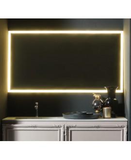 Miroir salle de bain, lumineux, contemporain, rectangulaire, horizontal 140x75x3cm avec led frontal 4 cotés comp enter 4051