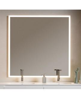 Miroir lumineux salle de bain, contemporain, carré, 120x120x3cm avec led frontal 4 cotés comp enter 4053