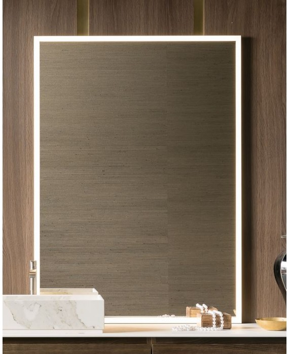 Miroir lumineux salle de bain, moderne, rectangulaire, vertical 100x140x3cm avec led frontal 4 cotés compenter 4050