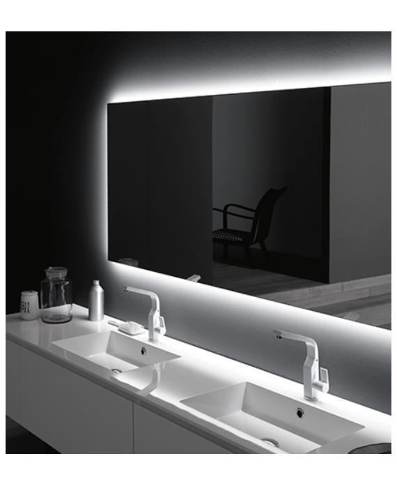 Miroir lumineux salle de bain, horizontal, contemporain avec led derrière, comp digit