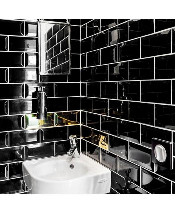 Carrelage Metro Ex Noir Brillant 7 5x15cm