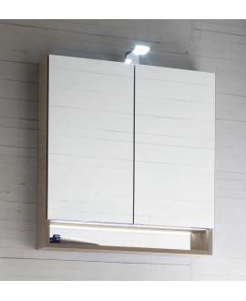 Miroir armoire C store 70x75x15cm, 2 portes, laqué blanc mat