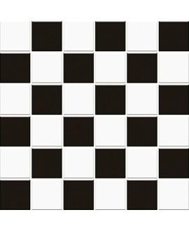 Mosaique damier noir et blanc brillant 5X5cm sur trame