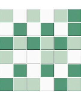 Mosaique mélangée, ghaccio, émeraude, giada, brillant 5X5cm sur trame