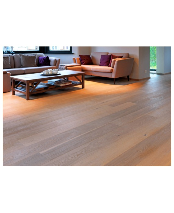 Parquet chêne clair contrecollé huilé, salon grande largeur 190 mm laoslo pure