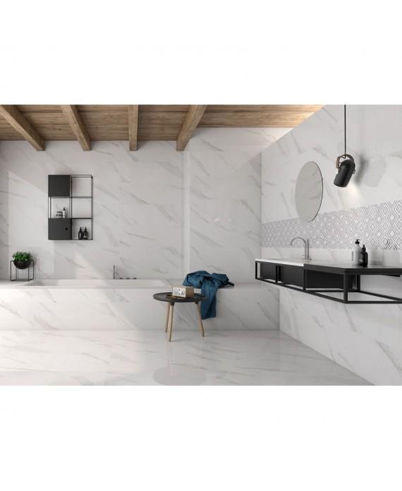 Carrelage imitation marbre blanc veiné mat 60x60cm rectifié, salle de bain géostatuary blanc