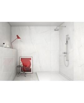 Carrelage poli brillant imitation marbre blanc veiné salle de bain 60x60cm rectifié,  géoswing blanc
