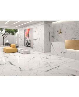 Carrelage poli brillant imitation marbre blanc veiné de noir 60x60cm rectifié, bureau géokairos blanc