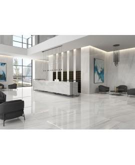 Carrelage imitation marbre poli brillant 60x60cm rectifié, hotel,  géolasa blanc