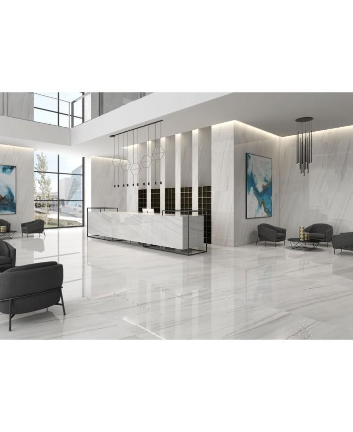 Carrelage Imitation Marbre Poli Brillant 60x60cm Rectifie Geolasa Blanc