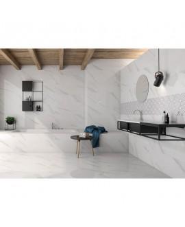 Carrelage poli brillant imitation marbre 60x60cm rectifié, géostatuary blanc