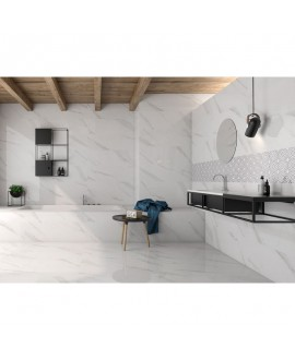Carrelage poli brillant imitation marbre salle de bain 60x60cm rectifié, géostatuary blanc