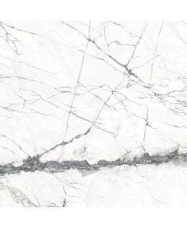 Carrelage imitation marbre rectifié poli brillant grand format, géokairos blanc