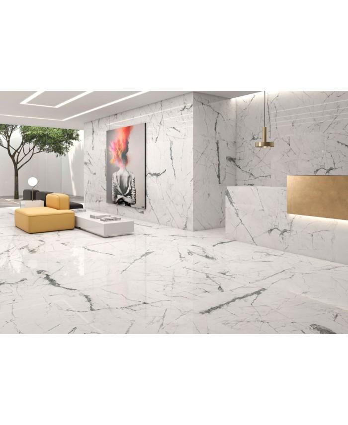 Carrelage Imitation Marbre Rectifie Poli Brillant Grand Format Geokairos Blanc