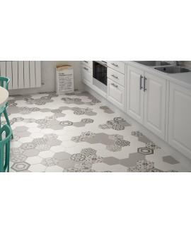 Carrelage hexagone blanc, gris et harmony b/w, 17x20cm