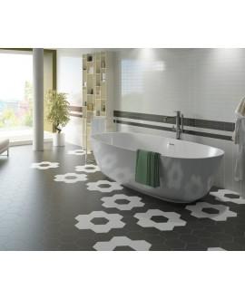 Carrelage hexagone noir et blanc mat 17.5x20cm