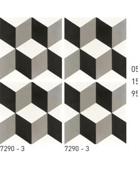 Carrelage ciment décor trompe l'oeil noir et blanc 7290-3 20x20cm