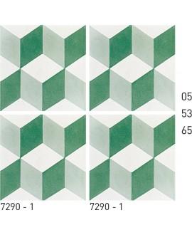 Carreau ciment véritable décor trompe l'oeil vert et blanc 7290-1 20x20cm