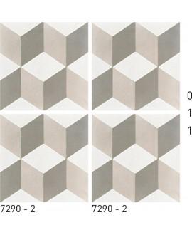 Carreau ciment véritable décor trompe l'oeil gris et blanc 7290-2 20x20cm