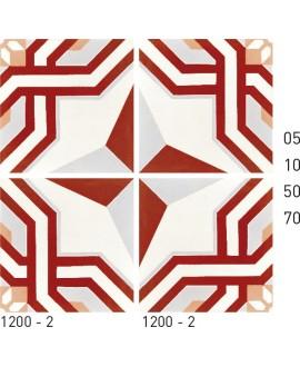 Carrelage ciment décor étoile rouge et blanc 1200-2 20x20cm