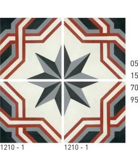 Carreau ciment véritable décor étoile 1210-1 20x20cm